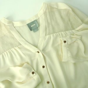 Anthropologie Tops - Anthropologie Maeve Cream Sheer Chiffon blouse top
